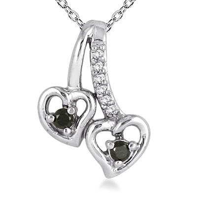 1/10 Carat Black and White Diamond Double Heart Pendant in 10K White Gold