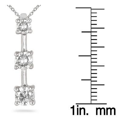 1/2 Carat Three Stone Diamond Pendant in 10K White Gold