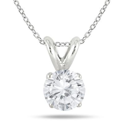 1/2 Carat Diamond Solitaire Pendant in .925 Sterling Silver