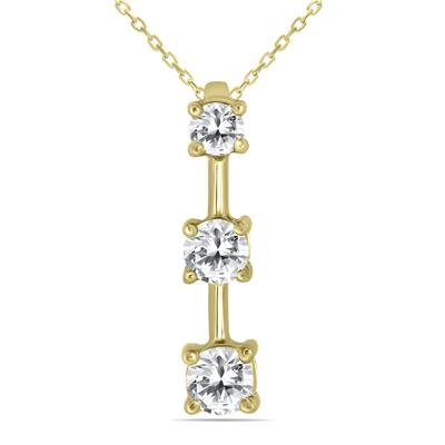 1 Carat TW Three Stone Diamond Pendant in 10K Yellow Gold