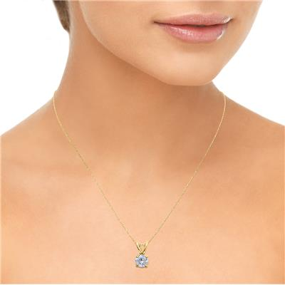 AGS Certified 1 Carat Diamond Solitaire Pendant in 14K Yellow Gold (I-J Color, I2-I3 Clarity)