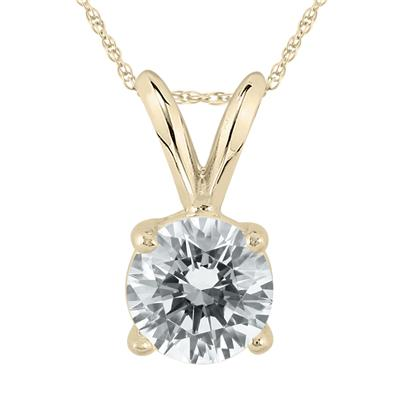AGS Certified 1 Carat Diamond Solitaire Pendant in 14K Yellow Gold (J-K Color, I2-I3 Clarity)
