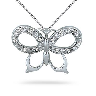 1/10 Carat Diamond Butterfly Pendant in .925 Sterling Silver