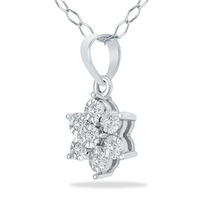 0.04 Carat Diamond Flower Pendant in .925 Sterling Silver
