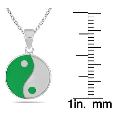 All Natural Green Jade and Mother of Pearl Ying Yang Pendant in .925 Sterling Silver