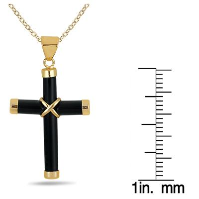 All Natural Black Onyx Cross Pendant in 14K Gold Plated Sterling Silver