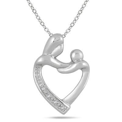 Mother and Baby Diamond Pendant in .925 Sterling Silver