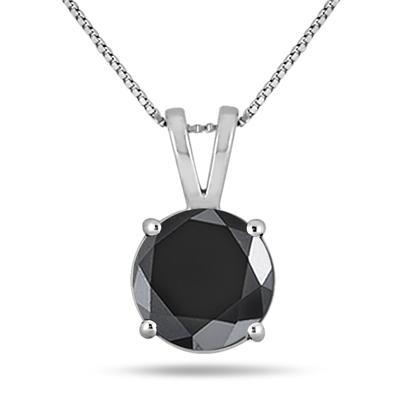 3 3/4 Carat Round Black Diamond Solitaire Pendant in 10k White Gold