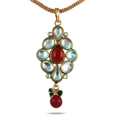 Multicolor Crystal and Bead Drop Pendant in Brass