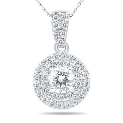 3/4 Carat TW Double Halo Diamond Pendant in 10K White Gold