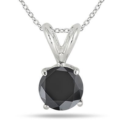 1 Carat Black Diamond Solitaire Pendant in .925 Sterling Silver