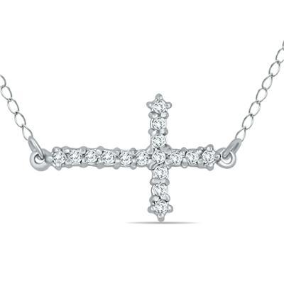 1/6 Carat TW Diamond Cross Pendant in 10K White Gold