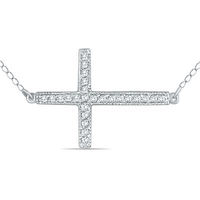 1/4 Carat TW Diamond Cross Pendant in 10K White Gold