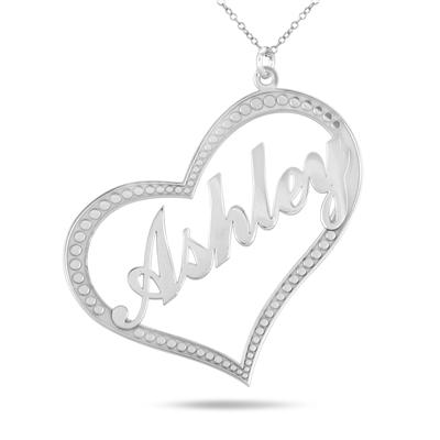 Custom Name Heart Pendant Necklace in .925 Sterling Silver