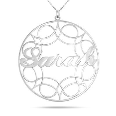 Custom Name Circle Pendant Necklace in .925 Sterling Silver