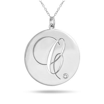 Monogram Initial Diamond CZ Pendant in .925 Sterling Silver