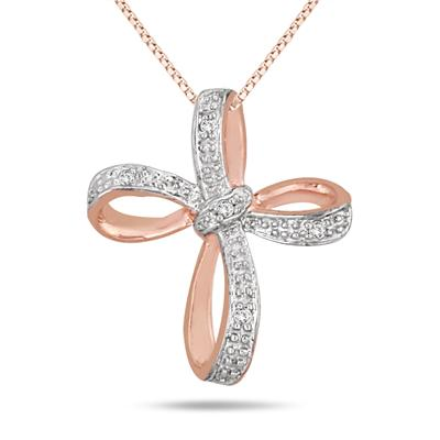Rose Gold Plated Diamond Cross Pendant in .925 Sterling Silver