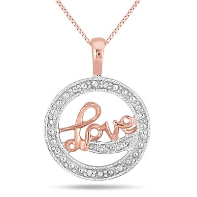 Rose Gold Plated Diamond LOVE Pendant in .925 Sterling Silver