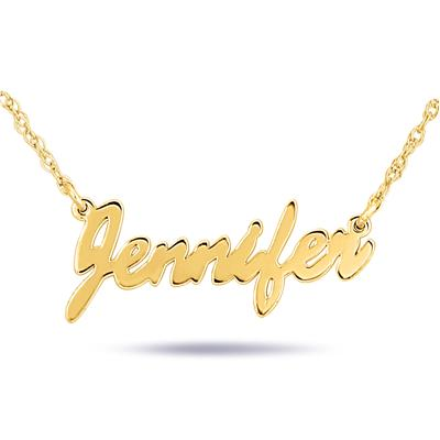 Custom Name Pendant Necklace in 24K Gold Plated Sterling Silver
