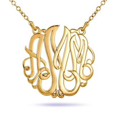Monogram Initial Pendant in 24K Gold Plated Sterling Silver