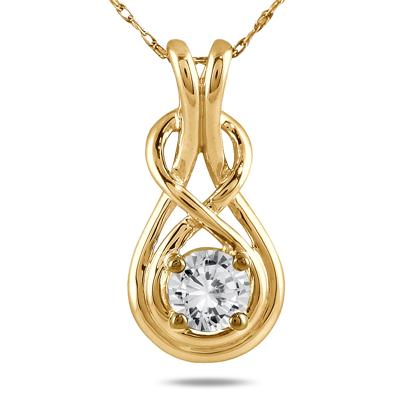 1/2 Carat Diamond Knot Pendant in 10K Yellow Gold