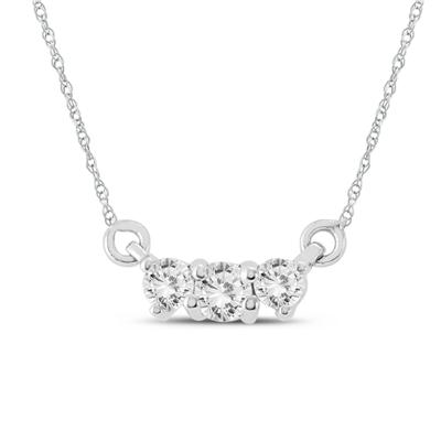 AGS Certified 1/2 Carat TW Three Stone Diamond Necklace in 14K White Gold