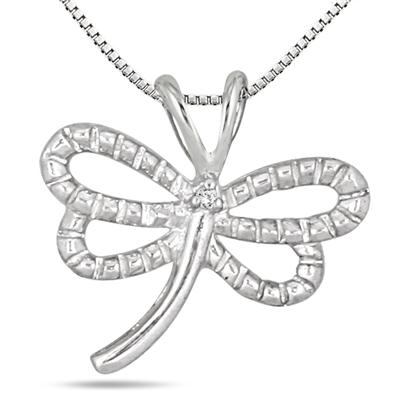 Diamond Butterfly Pendant in .925 Sterling Silver