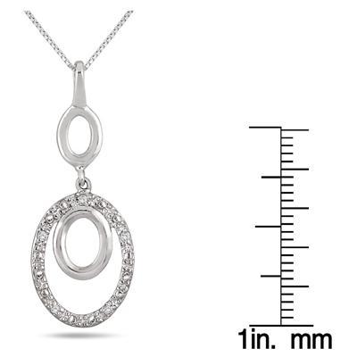0.05 Carat Diamond Oval Pendant in .925 Sterling Silver