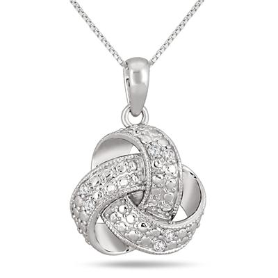 1/10 Carat Diamond Infinity Knot Pendant in .925 Sterling Silver
