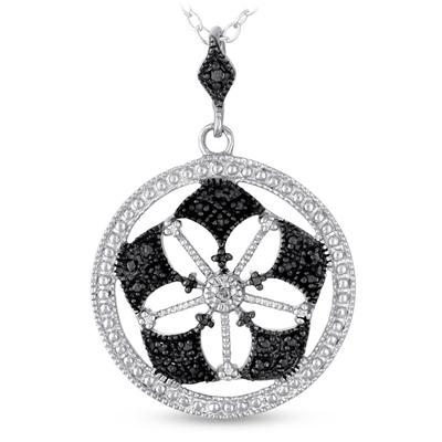 Black and White Diamond Pendant in .925 Sterling Silver