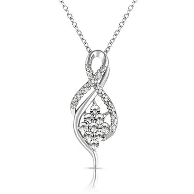 Diamond Flower Cluster Twist Pendant in .925 Sterling Silver
