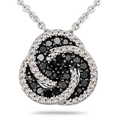 1/3 Carat T.W Black and White Diamond Infinity Pendant in .925 Sterling Silver