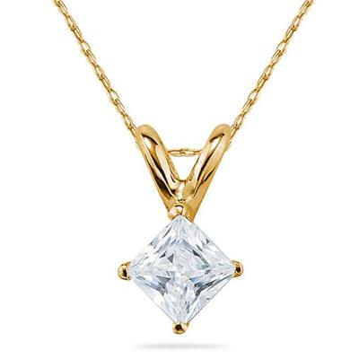 3/4 Carat Princess Diamond Solitaire Pendant in 14K Yellow Gold