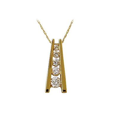 Five Stone Diamond Journey Pendant In 14kt Yellow Gold