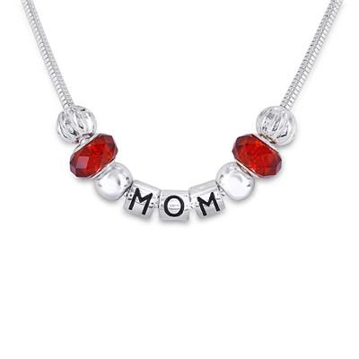 Hand Blown Red Glass Bead MOM Charm Necklace
