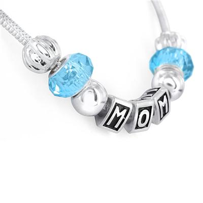 Glass Bead MOM Charm Necklace in Plated Sterling Silver