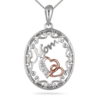 MOM Diamond Double Heart Engraved Pendant in 18K Rose Gold Plated .925 Sterling Silver