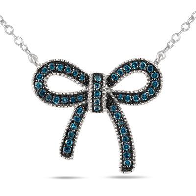 1/4 Carat Blue Diamond Ribbon Pendant in .925 Sterling Silver