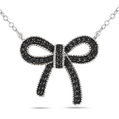 1/4 Carat Black Diamond Ribbon Pendant in .925 Sterling Silver