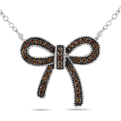 1/4 Carat Champagne Diamond Ribbon Pendant in .925 Sterling Silver