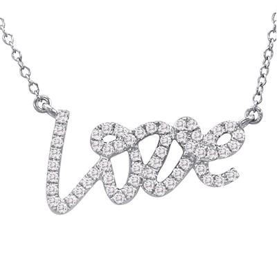 1/3 Carat Diamond LOVE Necklace in .925 Sterling Silver