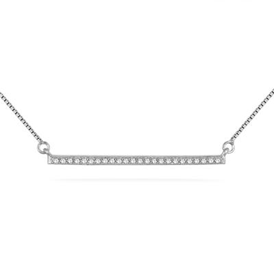 1/10 Carat Diamond Trapeze Bar Pendant in .925 Sterling Silver