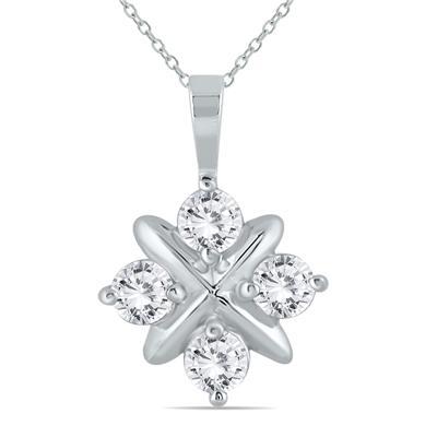 1 Carat TW Diamond Snowflake Pendant in 10K White Gold