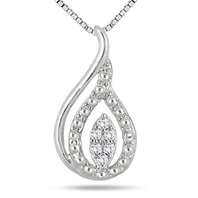 Diamond Tear Drop Pendant in .925 Sterling Silver