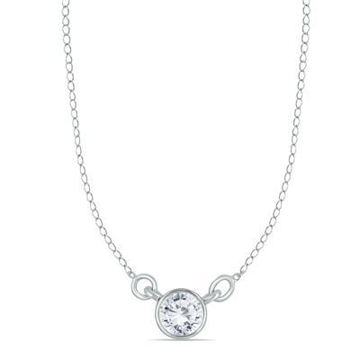 1/2 Carat Diamond Bezel Necklace in 14K White Gold