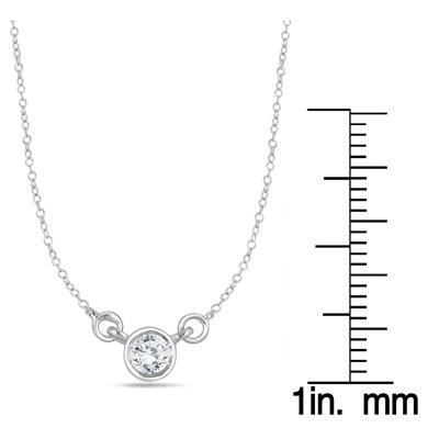1/4 Carat Diamond Bezel Pendant in 14K White Gold