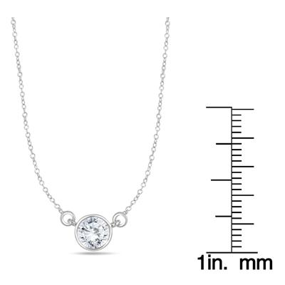 3/4 Carat Diamond Bezel Pendant in 14K White Gold