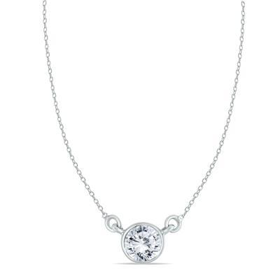 1 Carat Diamond Bezel Pendant in 14K White Gold