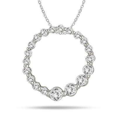 1CTW Diamond Journey Pendant In 14K White Gold