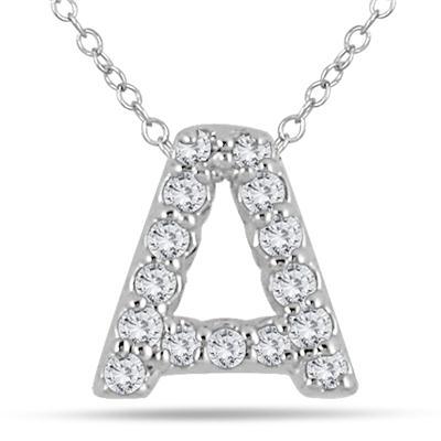 1/10 Carat TW A Initial Diamond Pendant in 10K White Gold